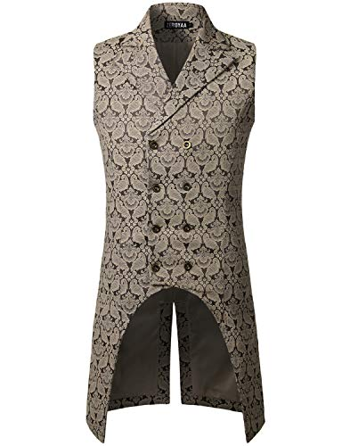 ZEROYAA Mens Gothic Steampunk Double Breasted Vest Waistcoat Sleeveless Tailcoat ZLSV11 Coffee XXX Large