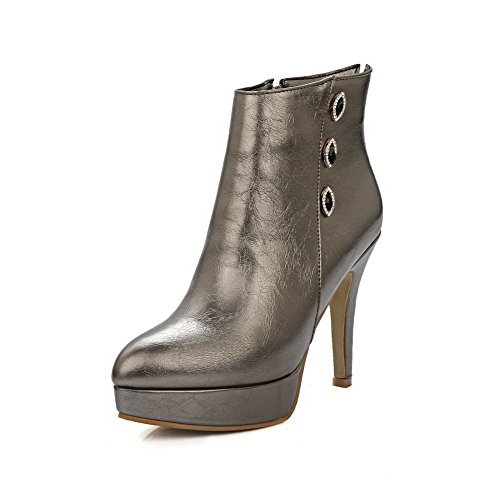 AalarDom Women's Solid Microfiber High-Heels Zipper Pointed Closed Toe Boots, Silver, 38 by AalarDom