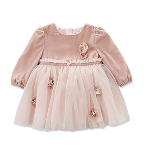 DAVE&BELLA Autumn Baby Girl Fairy Princess Dress Baby Wedding Birthday Lace Dress Girls Costumes Flower Appliques (5T)