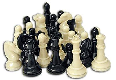 CSI Cannon Sports 32 Plastic Black and Cream Color Chessman Pieces