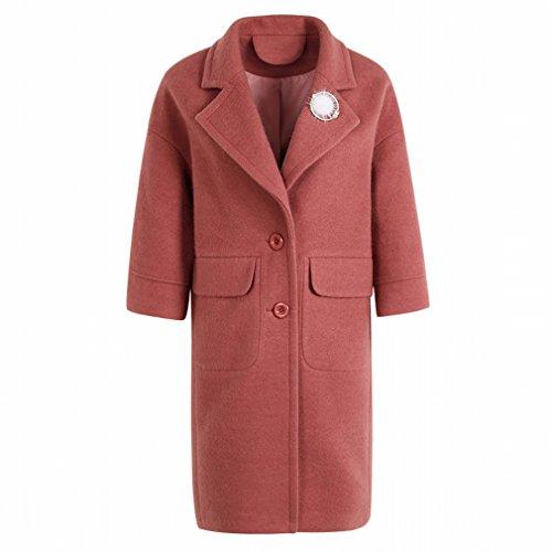 Lapel Thick Color Red MIF and Winter Solid Women Coat 'S Coat Autumn Temperament Coat 8wCq0nCxU