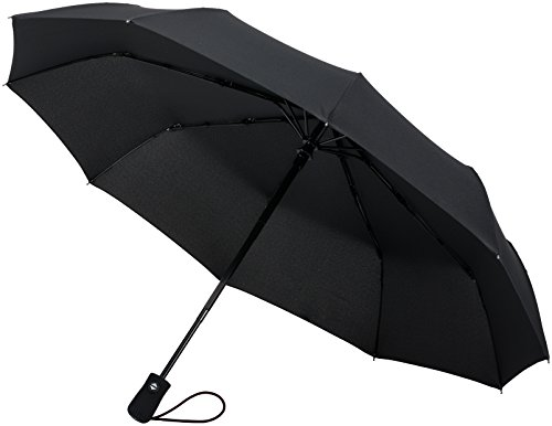 Crown Coast Black Travel Umbrella - 60 MPH Windproof Lightweight for Men Women and Kids, Compact Travel Umbrellas in Multiple Colors (High Deck Sky)