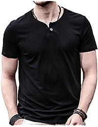 Mens Summer Casual Slim Fit Single Button Short Sleeve Placket Plain Henley Top T Shirts