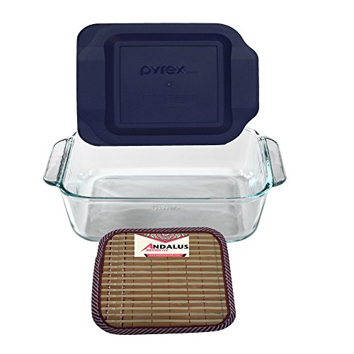 Pyrex 8-Inch Square Baking Dish with Blue Plastic Lid, Brownies Pan - Includes Bamboo Hot Pad by Andalus