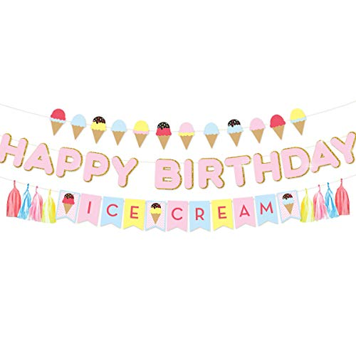 NICROLANDEE Glittery Happy Birthday Banner Flags Ice Cream Theme Paper Garland with Tassel for Kids Party Summer Baby Shower Decoration Supplies -