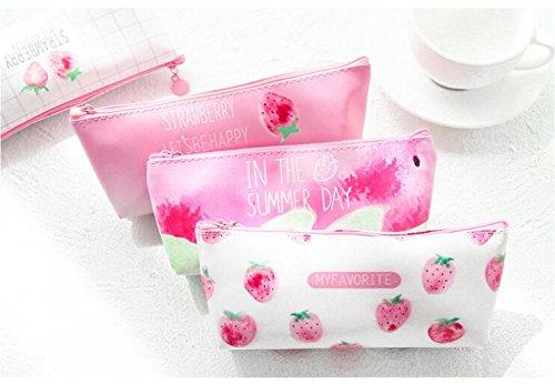 Sweet Strawberry PU Pencil Bag/Office School Supplies/Storage Purse/Children's Gift Stationery