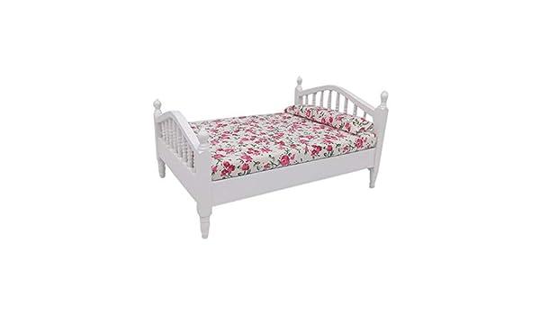 e63a5c1944e3 Amazon.com: DaoAG 1:12 Miniature Dollhouse Bed Elegant Flower White ...
