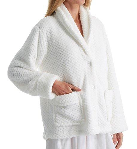 La Cera 100% Polyester Honeycomb Fleece Bed Jacket (8825) L/White