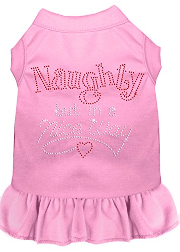 Mirage Pet Products 57-17 XLLPK Pink Rhinestone Naughty but in a Nice Way Dress Light, X-Large ()