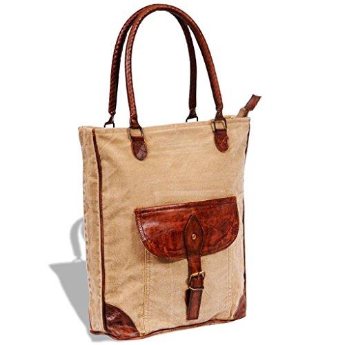 elegante y con de beige cuero Bolso color auténtico hebilla moderno tela y vidaXL tTqan1wW