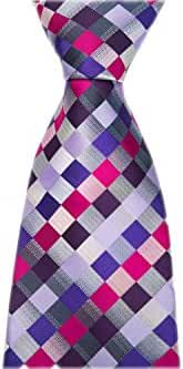 Allbebe Men's Classic Checks Purple Blue Jacquard Woven Silk Tie Necktie
