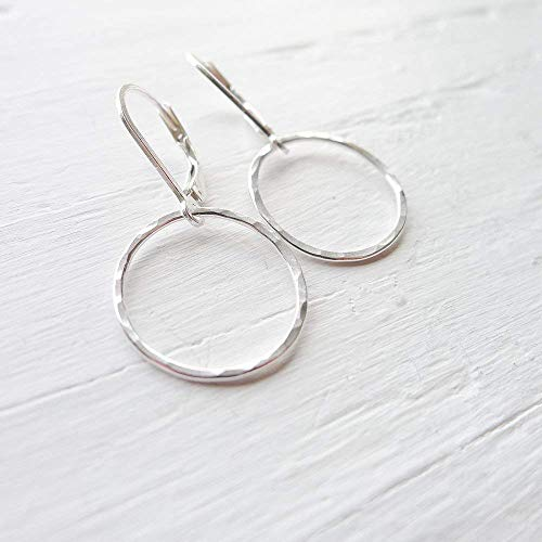 (Camilee Designs Hammered Circle Leverback Earrings in Sterling)