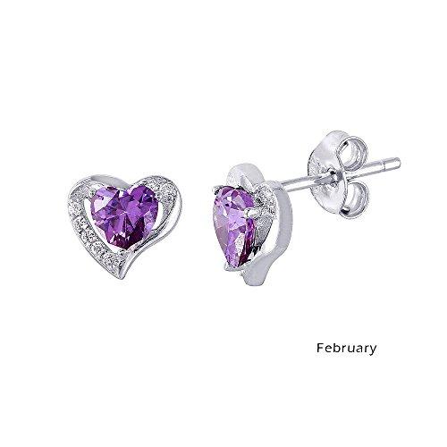 Sterling Simulated Birthstone Zirconia Earrings