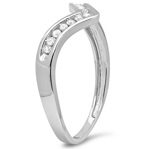 Dazzlingrock Collection 0.10 Carat (ctw) 14K White Round Diamond Wedding Band Guard Chevron Ring 1/10 CT, White Gold, Size 6.5 by Dazzlingrock Collection (Image #2)