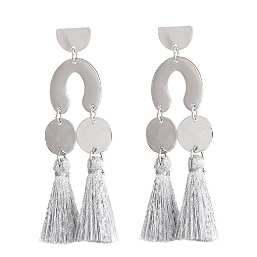 HSWE Tassel Earrings Hammered Coin Dangle Ear Drop Geometric Design Top Silver (Hammered Coins Silver)