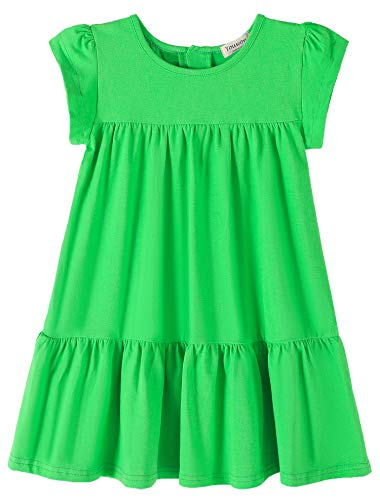 Youwon Toddler Girls Dress Short Sleeve Solid Color Tunic A-Line Tiered Swing Dress 2-6 7-16 Grass Green