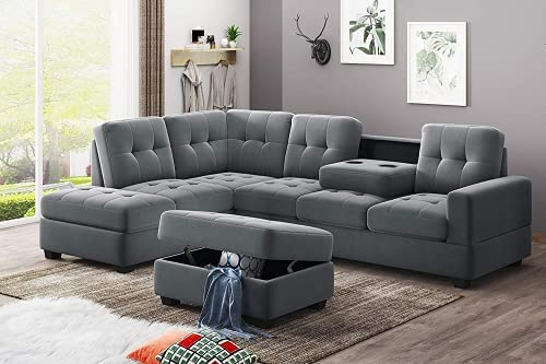HCWORLD 3-Seat Sectional Sofa, Modern Upholstered L-Shaped Sleeper Couches with Storage Ottoman and Cup Holder Chaise for Living Room Furniture(Gray)