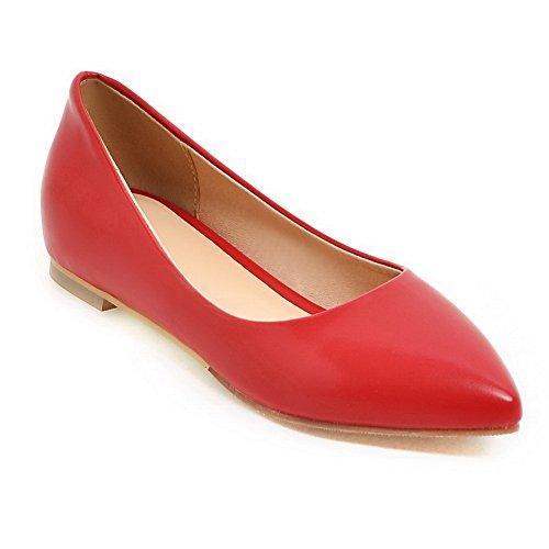 Balamasa Meisjes Vierkante Hakken Laag Uitgesneden Bovendeel Winkle Pinker Geïmiteerd Lederen Pumps-schoenen Rood