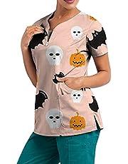 Msaikric Halloween Prints Scrubs Tops Women Short Sleeve V-Neck Nurse Medical Uniform Pumpkin Ghost Bat Blouses with Pocket