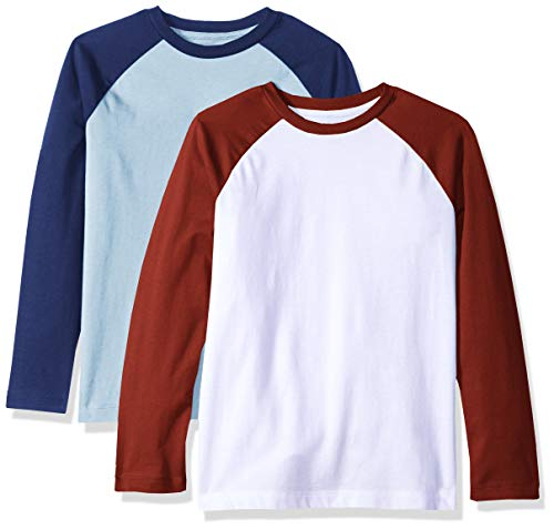 (Amazon Essentials Toddler Boys' 2-Pack Raglan Tee, Cerulean with Blue Depths White with Pomegranate Sleeve, 3T)