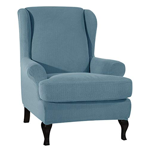 CHUN YI 2-Piece Stretch Jacquard Wing Chair Cover, Wing Back Wingback Armchair Chair Slipcovers with Arms Spandex Fabric Sofa Covers Furniture Protector(Smoky Blue)