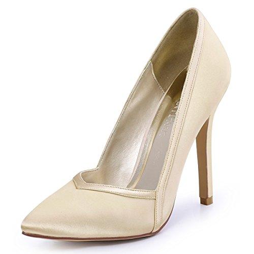 ElegantPark HC1603 Women's Pointed Toe High Heel V Cut Pumps Satin Wedding Dress Shoes Champagne US 8