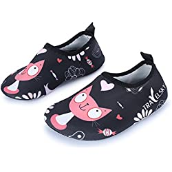 Kids Boys Girls Fashion Barefoot Aqua Water Skin Shoes for Dive Beach Sand Swim Surf Aerobics,Black/Cat US 8-8.5 M Toddler