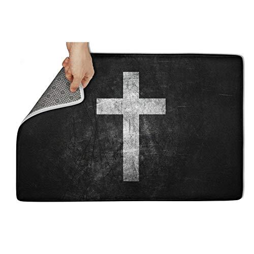 TAMBC Black & White Crucifix Bath Mat Door Mat 15.5