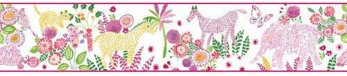 York Wallcoverings wk6881bd Waverly Kids Day Dream Border、ホワイト/ピンク/グリーン/イエロー/ゴールド