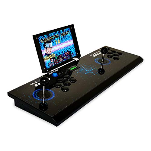 DIY 1080P Arcade Emulator Console Cabinet 10 inch LCD Screen Pandora's Box 3D Neo GBA SNK Video Game 2448 in 1 Retro Games Metal Case Pandora Arcade Machine Support 3D Game PC/PS Game can Charging