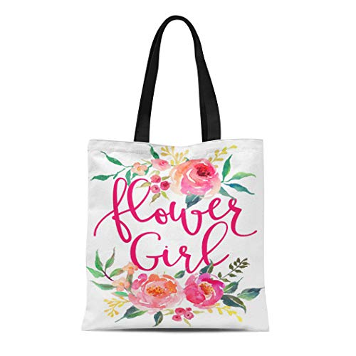 Semtomn Cotton Line Canvas Tote Bag Pink Girly Flower Girl Watercolor Peonies Peach Floral Wedding Reusable Handbag Shoulder Grocery Shopping Bags - Flower Tote Bag Canvas Girl