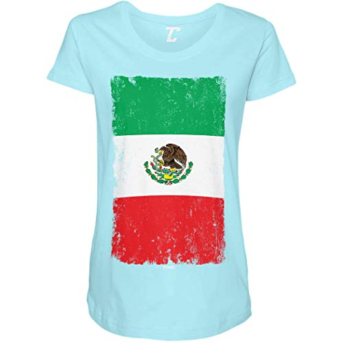 Distressed Mexico Flag - Mexican Eagle Latino Side Ruched Maternity T-Shirt (Light Blue, Medium)