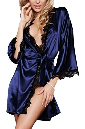 YACUN Womens Long Sleeve Kimono Robes Satin Silk Nightwear at Amazon Womens Clothing store: