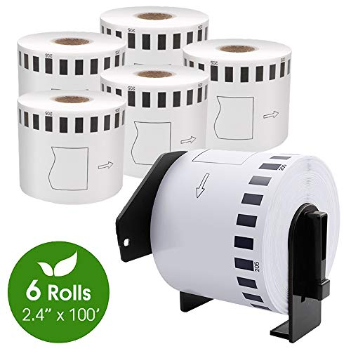 6 Rolls Compatible Brother DK-2205 Continuous Length Paper Tape Labels for 62mm x 30.48m (2-3/7
