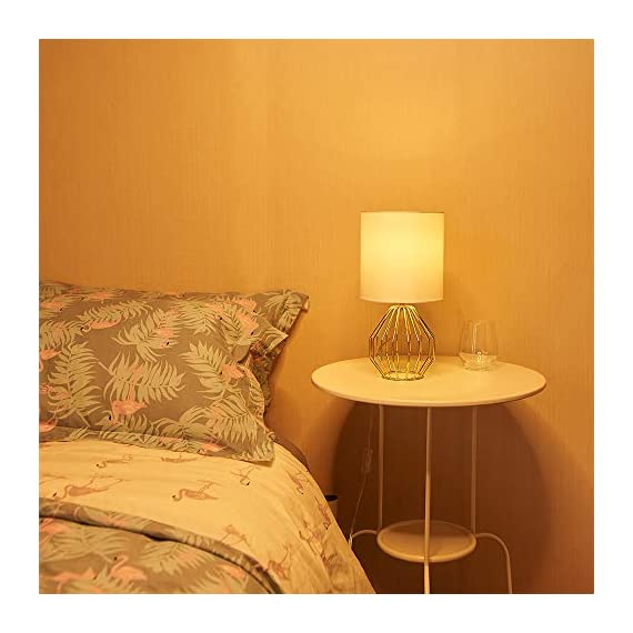 COTULIN Table Lamp,Gold Lamps for Bedroom,Modern Hollowed Out Base Small Table Lamp with White Fabric Shade for Living Room - Size:Height 14.37 inch,diameter 7.09 inch.Please note the size before purchasing. Input:AC 110V-120V,max 60W,E26 socket,fits LED CFL incandescent bulbs(bulb not included). High Quality:All of our products are produced in the standard factory,possessing long service life. - lamps, bedroom-decor, bedroom - 41Foqo3MuPL. SS570  -