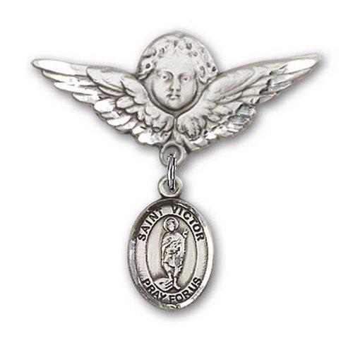 Icecarats Créatrice De Bijoux En Argent Sterling St. Vainqueur De Broches Marseille Charme Badge Angel 1 1/8 X 1 1/8