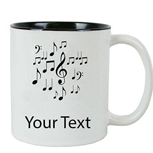 Personalized Custom Music Notes 11 oz White Ceramic Coffee Mug with White Gift Box