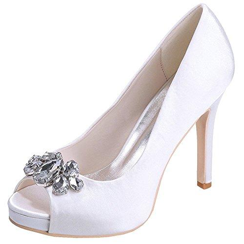 Bianco Peep Alto Raso A Da Di Scarpe Trovano Pompe Nozze Toe Strass Delle Donne Sposa Incrostato Tacco Bangfox Spillo 4cFUw5qg