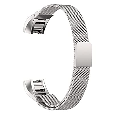 YESOO Fitbit Charge 2 Replacement Band, Stainless Steel Magnetic Milanese Loop Wrist Strap for Fitbit Charge 2 (2016) Fitness Tracker Heart Rate Monitor Wristband