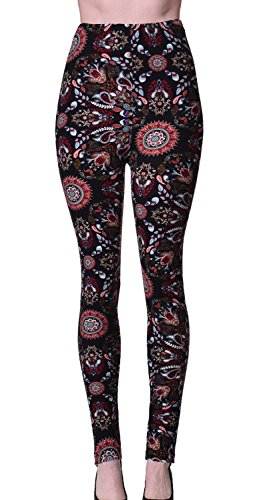 VIV Collection Plus Size Printed Leggings (Volcano Paisley)