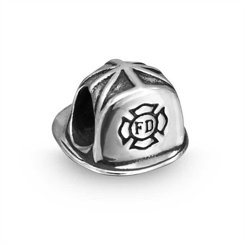 Patriotic 925 Sterling Silver Firefighter Fireman Hat Bead (Firefighter Symbol Charm)