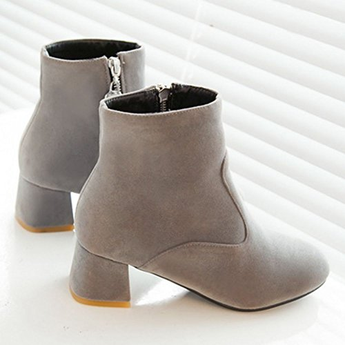 DecoStain Womens Suede Ankle Boots Block Mid Heel Ladies Casual Smart Party Shoes Booties Grey QUZivjgx