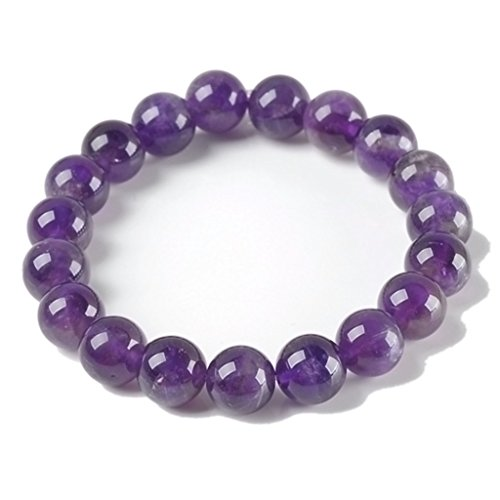 Amethyst Gemstone Healing Power Round Elastic Stretch Bracelet Variation Colors and Material (Amethyst Power Bracelet)