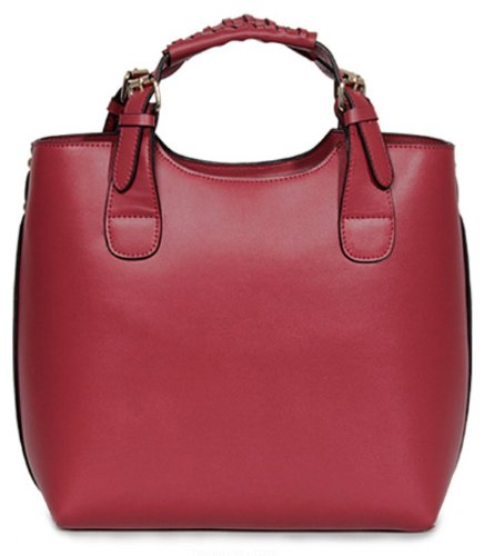 edab87c6ed Aolevia Woman Fashion Wine Red Handbag - Elegant Tote Bag Leather Bag  Shopper Bag Shopping Bag - 100% Leather  Amazon.co.uk  Shoes   Bags