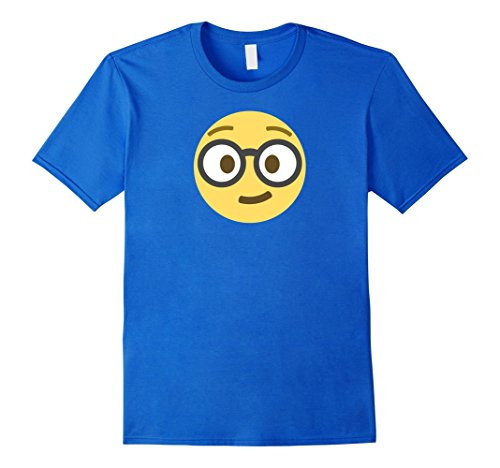Male Geek Costume Ideas (Mens Emoji Nerd Shirt Yellow Face Geek Costume Glasses Gift 3XL Royal Blue)