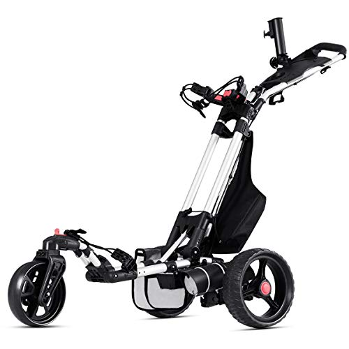 Tangkula Electric Golf Push Cart Manual Control Foldable Umbrella Holder Scorecard Holder Lithium Battery TPR Handle Golf Carts