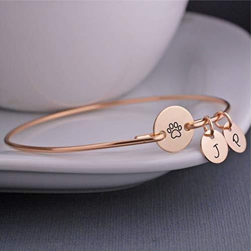 Paw Print Bracelet Custom Bracelet For Animal Lover Pet Gift Silver, Gold or Rose Gold