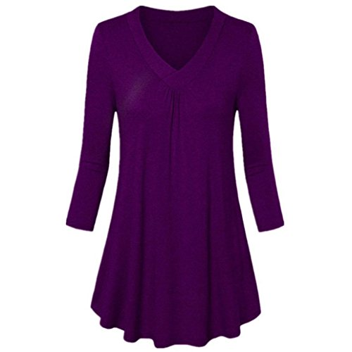 Long Sleeve T-Shirt Tops Blouse Clearance!Rakkiss Womens Pleated Plus Size Solid V-Neck Blouse T Shirts Tops (Vince Tee Sheer Jersey)