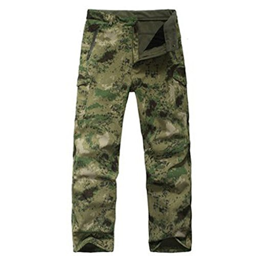 Eglemall Men's Military Tactical Hunting Pants Fleece Softshell Trousers Ruins Green L