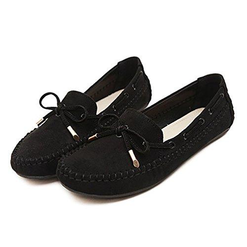 Baymate Mujer Comodidad Mocasines Piso Zapatos de Conducción con Bowknot Negro